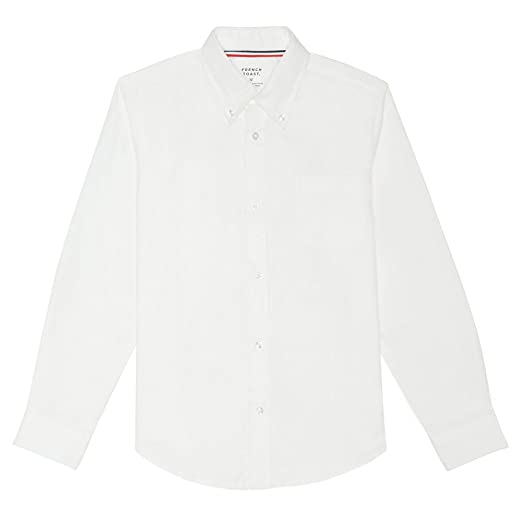 French Toast Big Boys' Long Sleeve Oxford Dress Shirt, White, 12