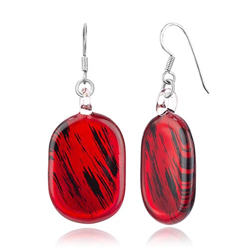 925 Sterling Silver Hand Blown Venetian Murano Glass Red Black Oval Shaped Dangle Hook Earrings]()