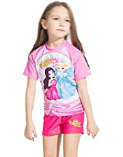 Comfortable Girls Swimwear Cute Fashion Princess Girl Split Short Sleeve Sunscreen Quick Dry Children Swimsuit Smooth (Size : 14)