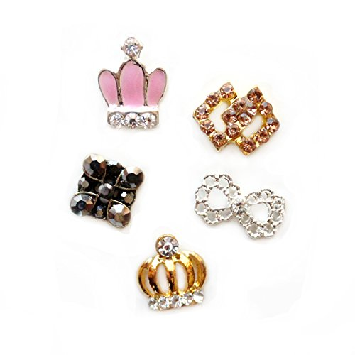 Winstonia Crowns & Rhinestones Assorted 3D Charms Nail Art Decoration Bling Rhinestone Bead Decor