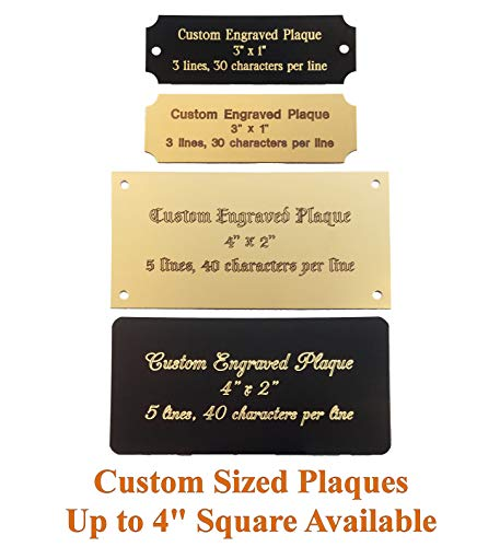 Personalized, Custom Engraved Brass Plaque, Name Plate, Art Tag, Picture Frame Label, Trophy Award - Fixed or Custom Sizes (Bright Gold Brass, 4