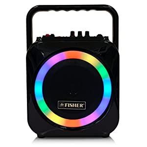 Fisher Wireless Sports Stereo System, 6inch Subwoofer Speaker, Bluetooth Enabled, FM Radio Player, Karaoke Features with LCD Display, LED Multicolor Lights, Auxiliary Input, and Ultra-Portable Design