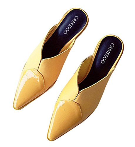 CAMSSOO Women's Slingback Mules Matte Patent PU Joint Mid Heel Sandals Open Back Stilettos Pointed Toe Shoes Yellow Matte/ Patent Pu ef9PkL3G