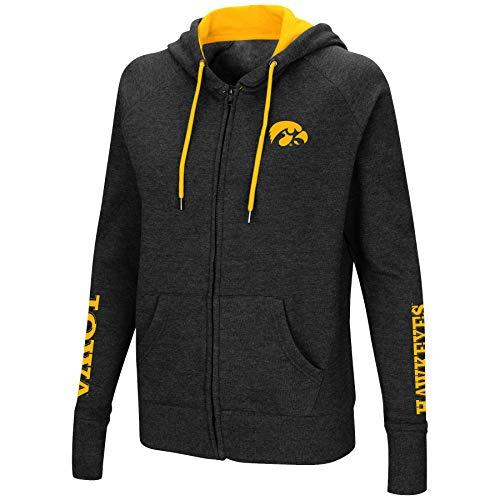 - Colosseum Women's NCAA-Contract-Cotton/Poly-Fleece Full Zip Up Hoodie Sweatshirt-Iowa Hawkeyes-Heathered Black-Medium