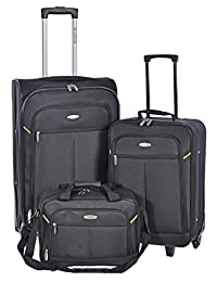 Millenium Black 3 Piece Luggage Set - Checked & Carry On Suitcases with Tote Bag
