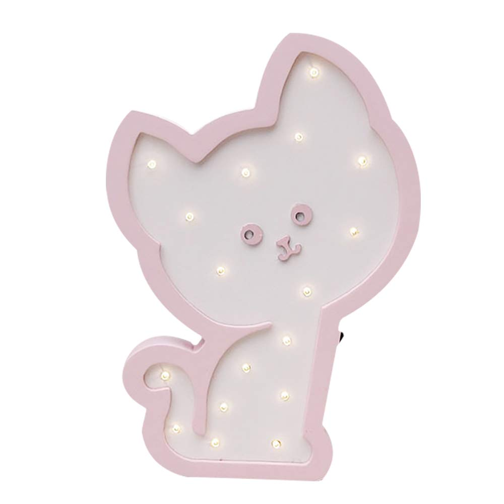 Cute Cat LED Night Lamps Wooden Marquee Light Sign Table Lamps Wall Decoration Girls Baby Room Christmas Wedding LED Light Sign