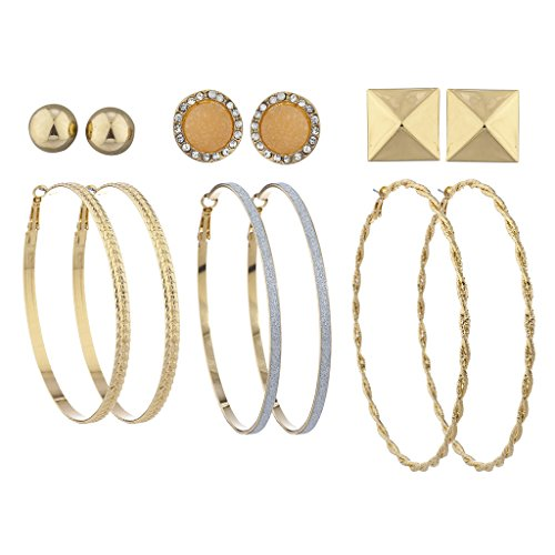 Lux Accessories Goldtone Hoop and Stud Multi Earring Set Pyramid Druzy (6pcs) 4in 14k White Gold Hoop