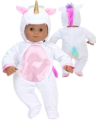 Unicorn Costume for 15 Inch Doll | Features Pink Rainbow Hair | Soft White 2 Pieces Unicorn Costume for Dolls]()