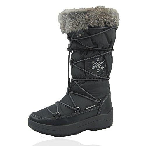 Comfy Moda Donna Inverno Neve Scarponi In Pelle Materiale Bilanciato Impermeabile Foderato In Pelliccia Integrale Garantito Grigio Montana