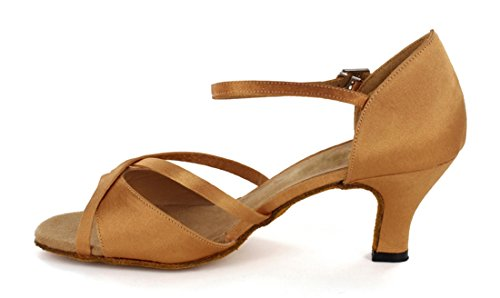 TDA Womens Fashion Peep Toe Bows Satin Salsa Tango Ballroom Latin Modern Dance Wedding Shoes Brown gUcTH1qOGR