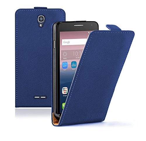 Membrane Funda Alcatel One Touch Pop Star 5022D Carcasa Negro Cartera Wallet Case Flip Cover Azul