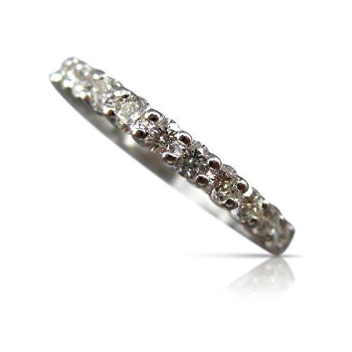 Milano Jewelers 1.37CT Diamond 14KT White Gold Shared Prong Eternity Wedding Ring #20180 ()