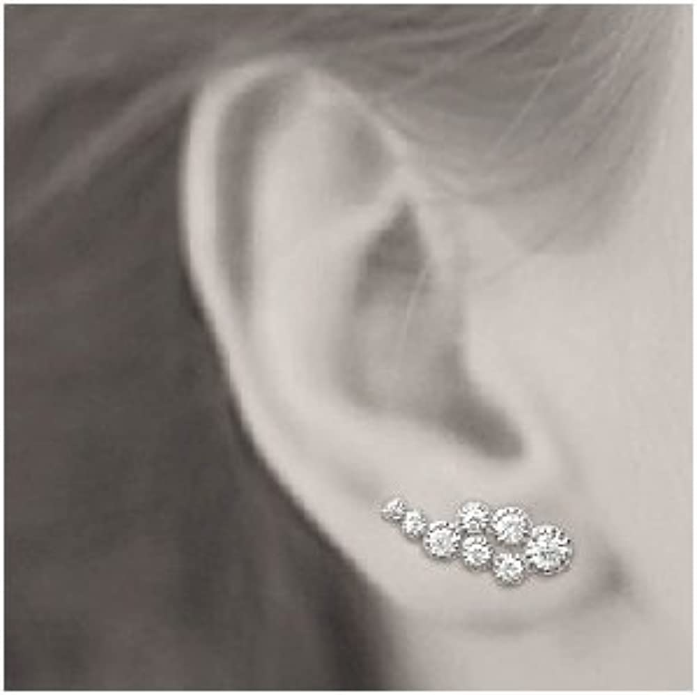 EAR CUFF BOUCLES D OREILLES CONTOUR DESSOUS  LOBE ARGENT 925°°° ZIRCONIUM CDE