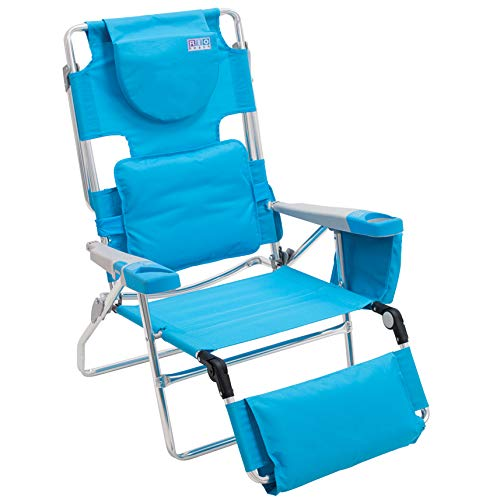 Beach Lounger - Rio Beach Face Opening Sunbed High Seat Beach Chair & Lounger - Turquoise