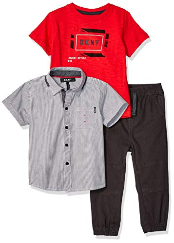 DKNY Baby Boys Short Sleeve Woven, T-Shirt, and Pull-On Pant, City Phantom, ()