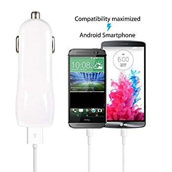 iRAG Car Charger for Samsung Galaxy S6/S6 Plus/S7/S7 Edge/S4/S3/Note 4/5/Note Edge/J7 V/J3 Eclipse/J3 Emerge/J7 Perx/Amp Prime 2/Halo/J7 Prime - 3.1 AMP 2-Port Charge+6FT Micro USB Charging Cable Cord