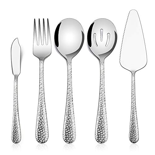 Hammered Serving Utensils, E-far 5-Piece Stainless Steel Hostess Serving Set for Buffet Party Kitchen Restaurant, Mirror Finished & Dishwasher Safe (Wear Serving)