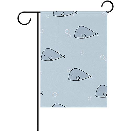 Johnnie Whale Welcome Sign Waterproof Polyester Fabric Home Welcome Garden Flag 12 X 18 -