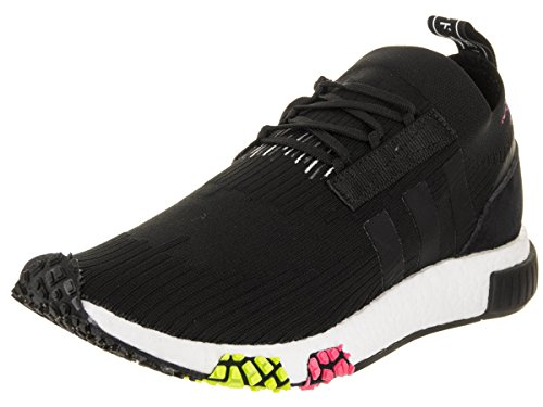 adidas Men's NMD_Racer Primeknit Core Black/Core Black/Solar Pink Running Shoe 11.5 Men US