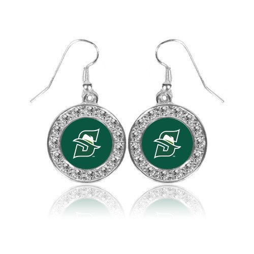 Earrings Logo Primary (CollegeFanGear Stetson Crystal Studded Round Pendant Silver Dangle Earrings 'Primary logo')