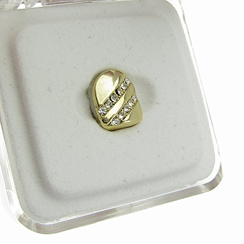 Single Cap Iced-Out Backslash Grillz 14k Gold Plated K9 Canine Tooth Clip Hip Hop Grill Slug - Cheap Gold Teeth Caps