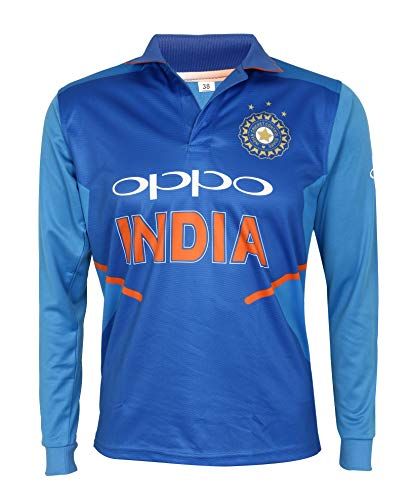KD Cricket India Jersey Full Sleeve Cricket Supporter T-Shirt New Oppo Team Uniform 2019-20 Kids to Adults (Plain, 40)