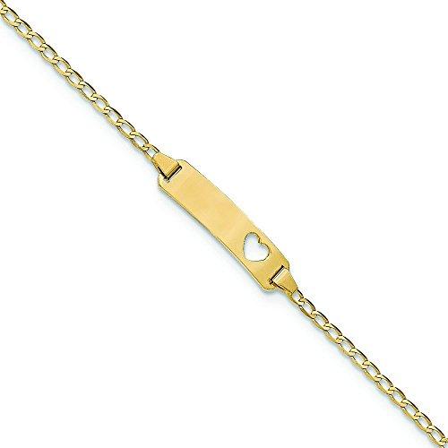 Or 14ct)-Bracelet Gourmette identité bébé-15cm