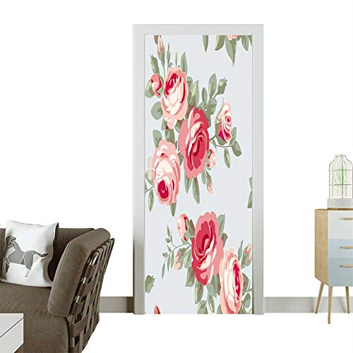 Door Sticker Wallpaper Raster Version Seamless Vintage Pattern with Roses Floral Wallpaper Fashion and Various Pattern W32 x H80 -