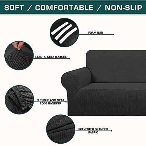 TFJ High Stretch Loveseat Sofa Slipcover Spandex Soft Fitted Sofa Couch Cover with Elastic Bottom Anti-Slip Foam Washable Furniture Protector for Dogs, Pets, Kids