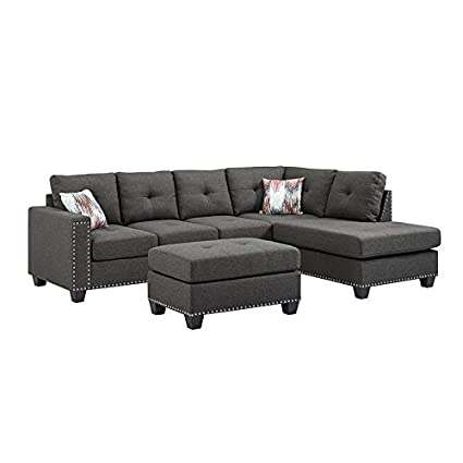 Amazing Amazon Com Sectional Sofa Set Linen Fabric Nailhead Studded Machost Co Dining Chair Design Ideas Machostcouk