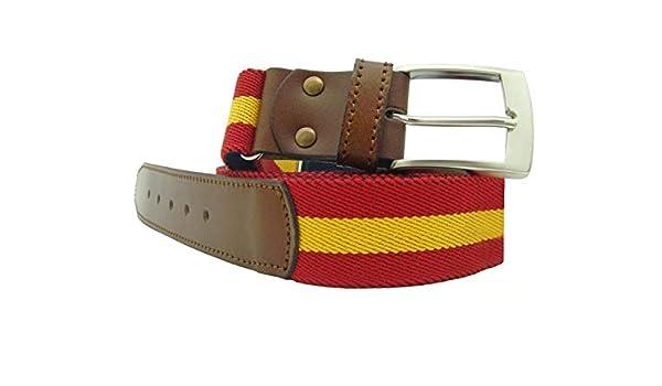 LGP – Cinturon Bandera de España de Lona elastica y Piel de Vacuno, extensible, valido para cualquier Talla: Amazon.es: Ropa y accesorios