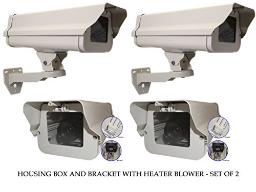 Evertech Housing CCTV Security Surveillance Outdoor Camera box with Bracket and Heater-Blower Weatherproof Heavy Duty Aluminum - Brackets Included (SET OF 2) (Weatherproof Camera Housing)