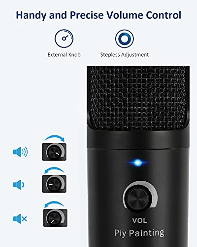 USB Microphone, Piy Painting Cardioid Recording Microphone, 192kHz/24bit Condenser Mic Compatible with PC Laptop Mac Windows, Plug&Play Computer Microphone for Podcasting, Gaming, Streaming-D08