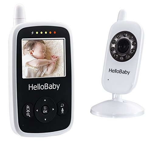 Hello Baby Wireless Video Baby Monitor with Digital Camera HB24, Night Vision Temperature Monitoring & 2 Way Talkback System, White