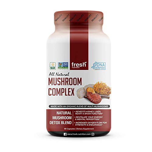 Mushroom Supplement Strong Organic 1650MG Blend Immune System Support & Nootropic Brain Booster with Cordyceps Extract, Lions Mane, Reishi Stress Relief, Wellness Natural Energy Formula 90 Capsules ()