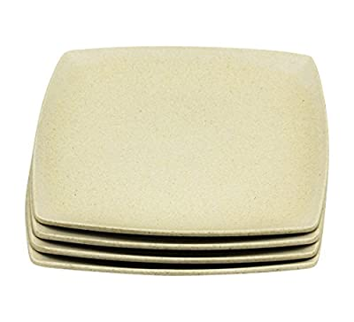 """Japanese Style Eco-Friendly Natural Bamboo Fiber Square Plates 11"""" by 11"""" (Set of 4)"""