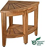 Teak Shower Bench, Teak Shower Stool, 18'' Teak Wood Bath Spa Shower Stool Corner Bench Stool, All Teak Wood Corner Seat Shower Bench/Stool,Assembly Required