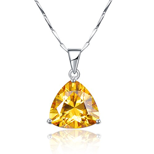 (BONLAVIE 9.35ct Women's 925 Sterling Silver Triangle Shaped Created Yellow Citrine Pendant Necklace 18