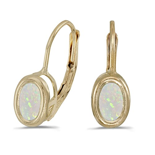 Jewels By Lux 14k Yellow Gold Studs Genuine Birthstone Oval Opal Bezel Lever-back Earrings (0.38 Cttw.)