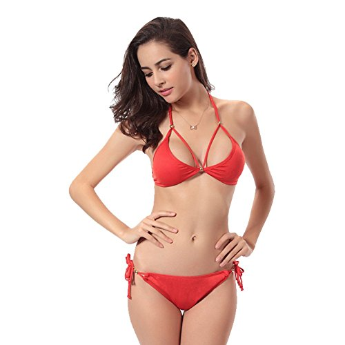UDreamTime de las Femenino de múltiples correas del halter de baño bikini Rojo