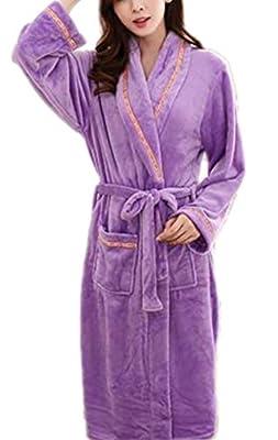 RESPEEDIME Women's Flannel Pajamas Autumn Winter Nightgown Cozy Bathrobe Robe