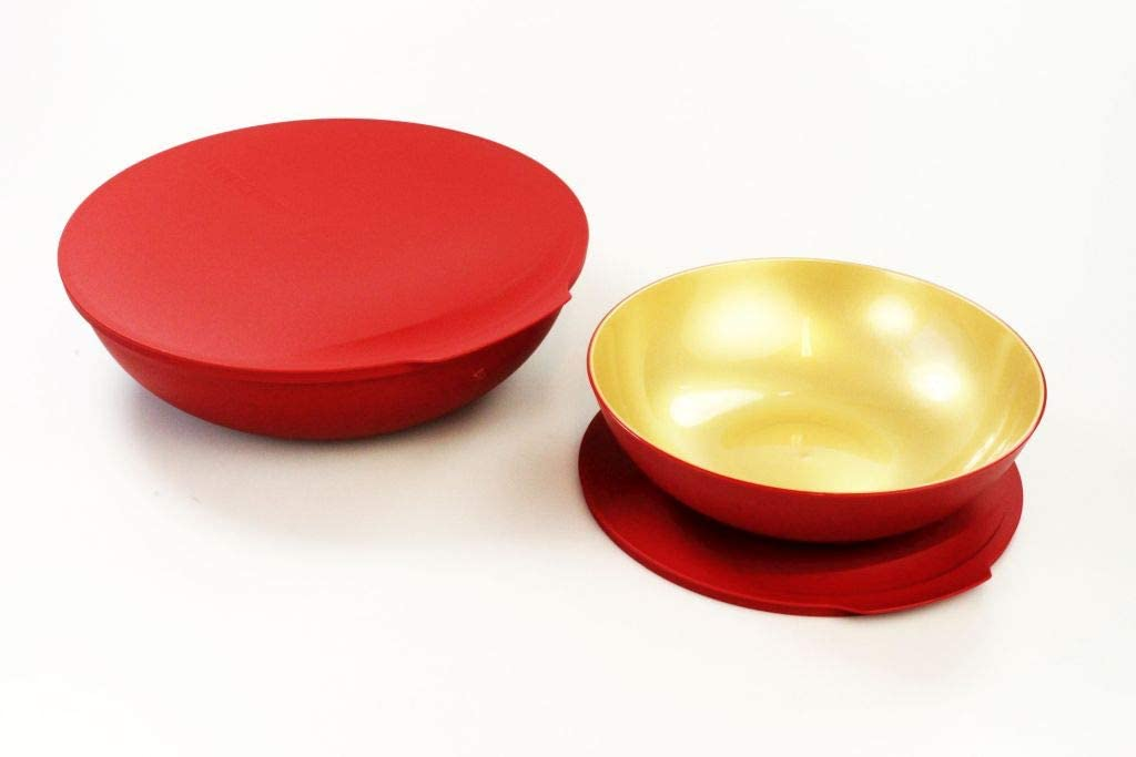 Tupperware Allegra ROT//GOLD 3,5 Liter Schüssel Servierschale Servierschüssel