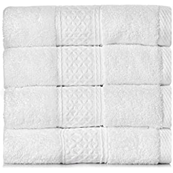 YOUNIQUE Face Hand Towels (13 x 29 inches, Set of 4) - 100% Cotton for Family Friends Parents and Babies - Soft, Durable and Ultra Absorbent - White