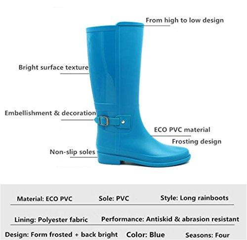 Baiyouli Mid-Calf Knee High Hunter Rubber Waterproof Rainboots Rain Boot with Buckle Design for Women Blue MXsHn