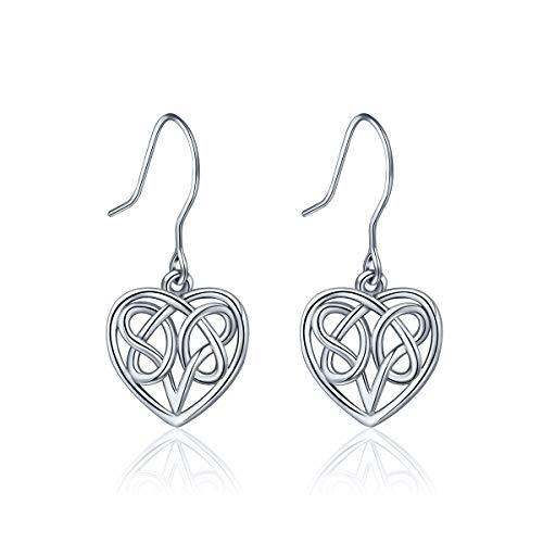 Silver Earrings Shape Sterling Heart (INFUSEU 925 Sterling Silver Heart Celtic Love Eternity Knot Dangle Earrings for Women Drop Hook Earrings)