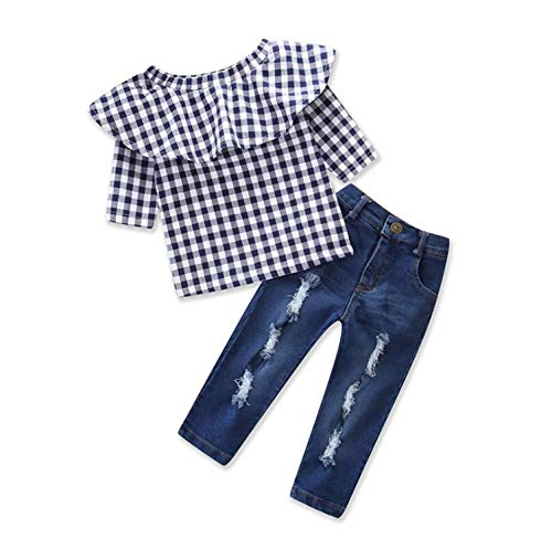 Off Tops Pants Jeans - Little Girls Spring Autumn Off Shoudler Ruffle Lattice T-Shirt Top and Hole Jeans 2PCS Outfits Set 2-3 T