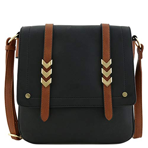 Double Compartment Large Flapover Crossbody Bag with Colorblock Straps Black/Brown
