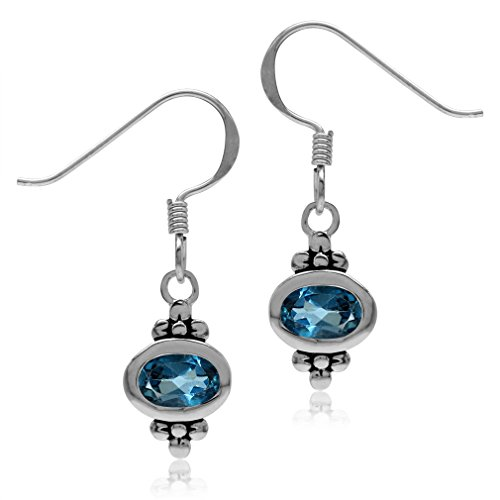 (1.12ct. 6x4MM Genuine Oval Shape London Blue Topaz 925 Sterling Silver Flower Dangle Hook Earrings)