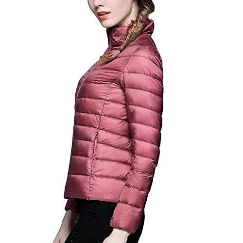 Léger Taille Chaud Neck S Femme Avec couleur Zhrui Et Rembourrage Padded Pour Rose Jacket HqAw701