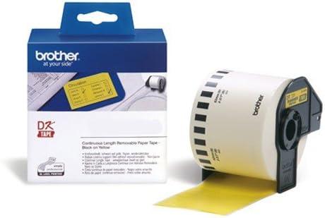 Endlosrolle 62mm P-Touch QL 570 Brother Etiketten Gelb 62 mm x 30,48 meter, Papier, 1 Endlosetikett Ablösbar, DK Label für Ptouch QL570
